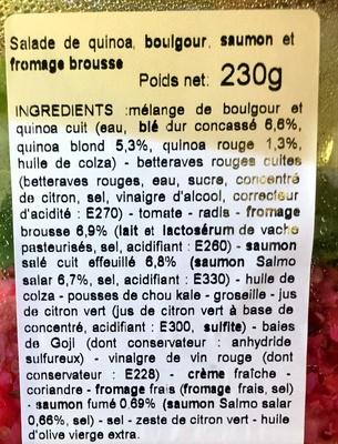 Salade boulgour quinoa saumon & brousse - Ingrediënten