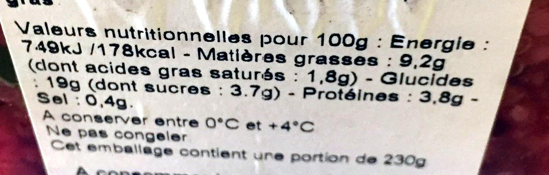 Salade boulgour quinoa saumon & brousse - Voedingswaarden