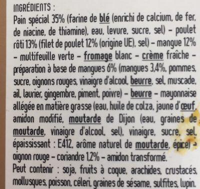 Wrap poulet mangue coriandre - Ingrédients - fr