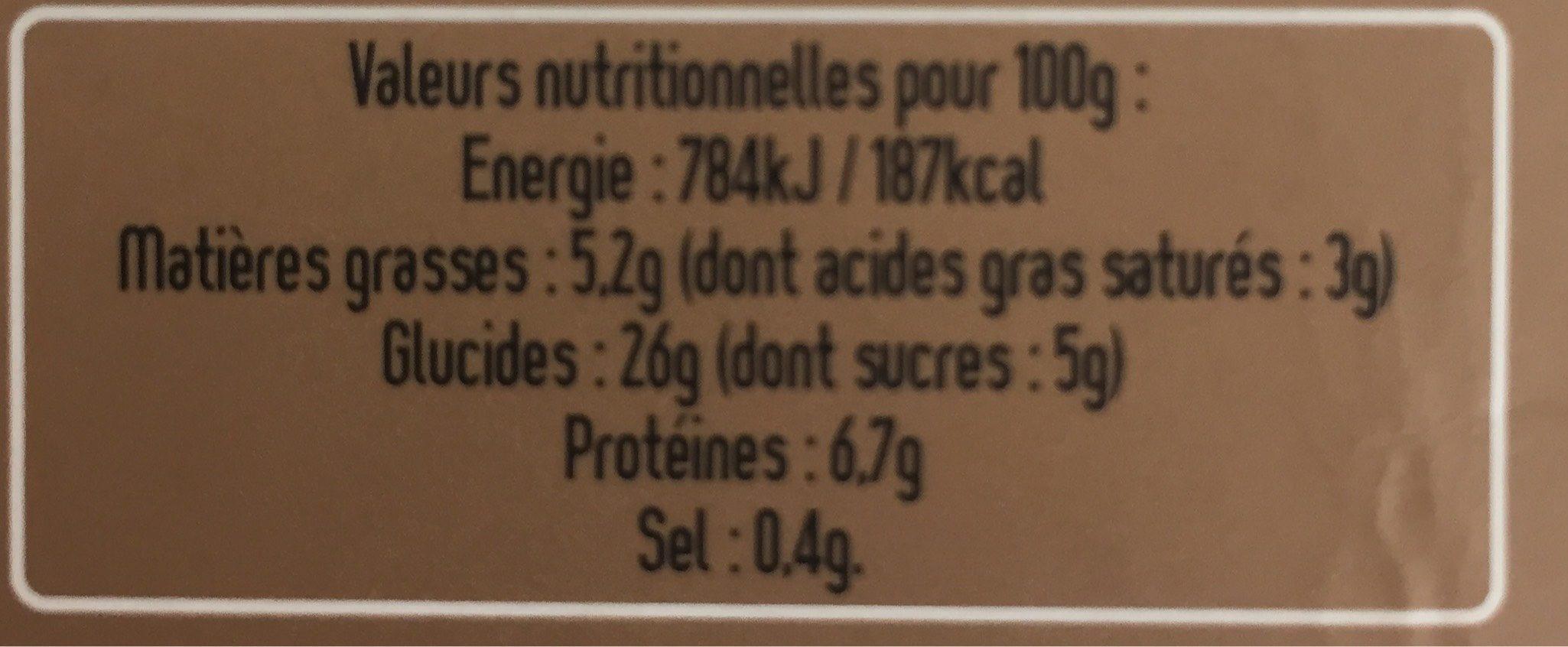 Wrap poulet mangue coriandre - Informations nutritionnelles - fr