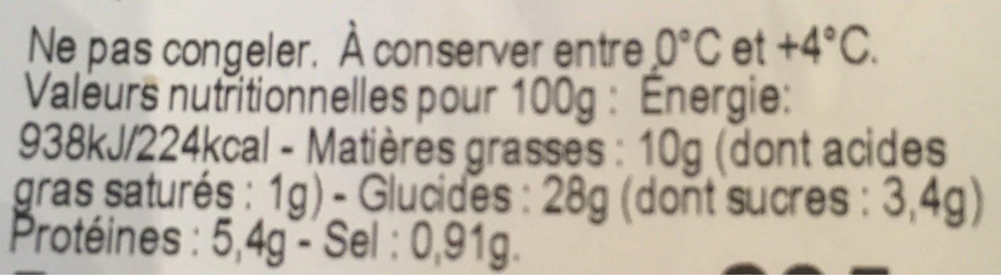 Wraps falafel & menthe - Informations nutritionnelles - fr
