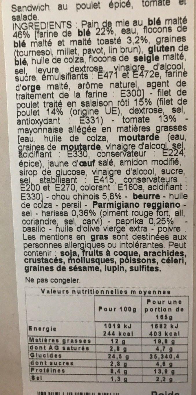 Poulet mariné crudité - Nutrition facts