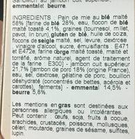 Sandwich au jambon cuit superieur, emmental et beurre - Ingredients