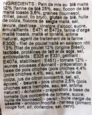 Poulet & Houmous tomate club - Ingrédients
