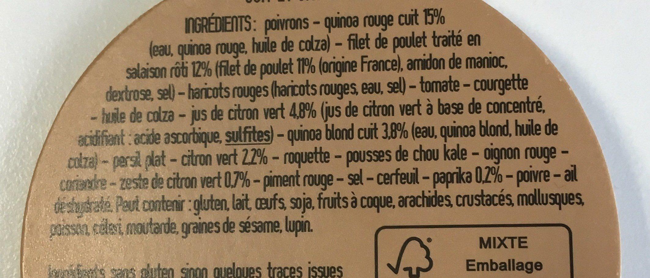Salade poulet paprika quinoa - Ingrediënten