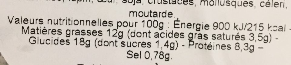 Salade caesar - Nutrition facts - fr