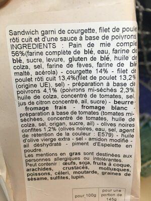 Sandwich club poulet - Ingrédients