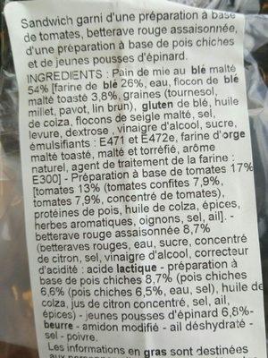 Sandwich club houmous et légumes - Ingrédients - fr