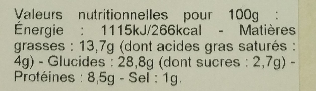 Chèvre Butternut Oignons confits - Informations nutritionnelles - fr