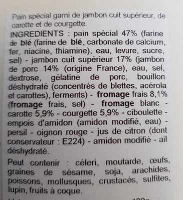 Galette jambon crudité fromage frais - Ingrediënten - fr