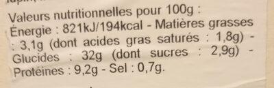Galette jambon crudité fromage frais - Voedingswaarden - fr