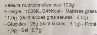 Mozarella Pesto rosso Roquette - Informations nutritionnelles