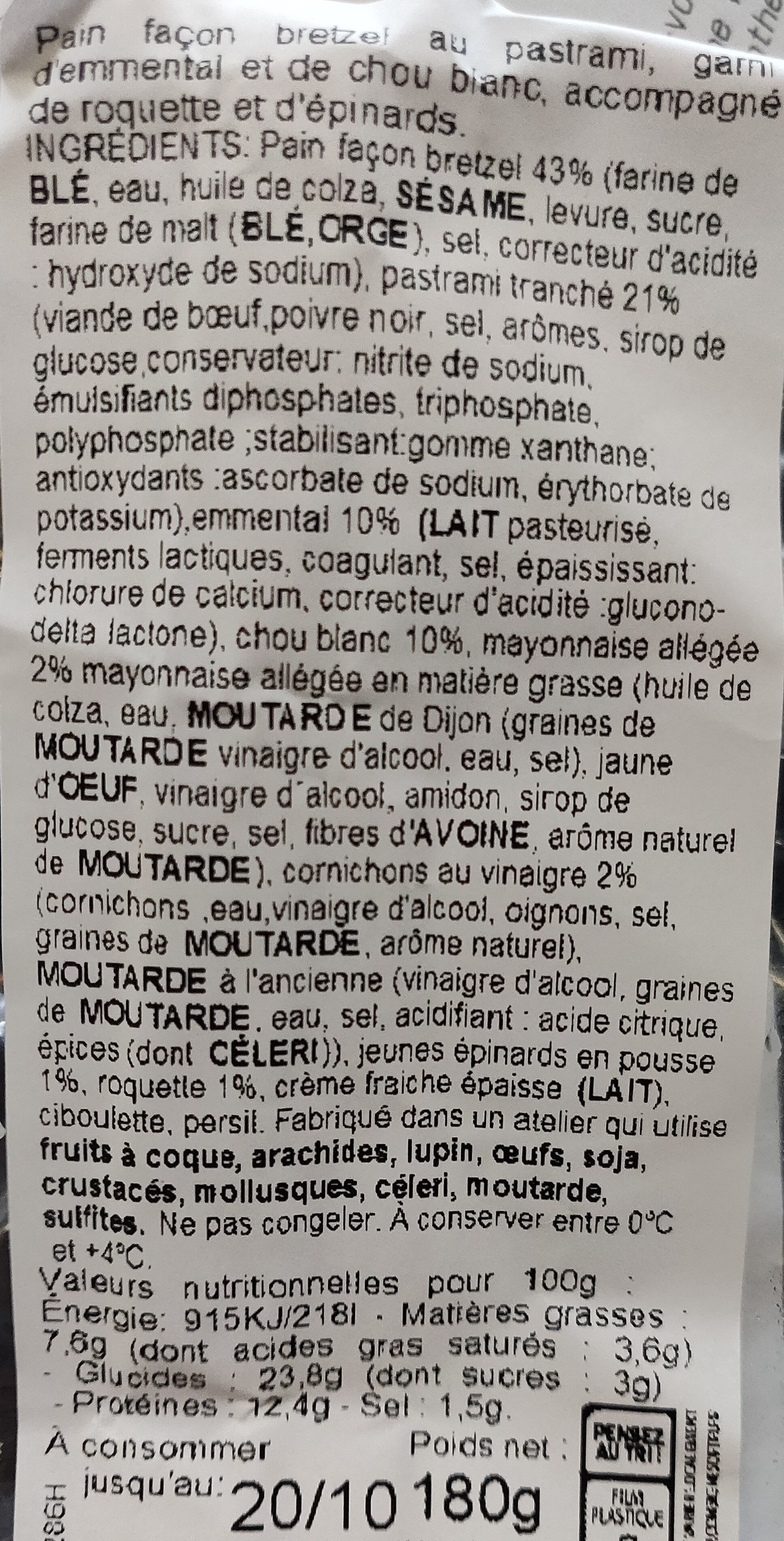 Bretzel pastrami - Ingrediënten - fr