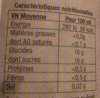 Jus de raisin bio - Voedingswaarden - fr