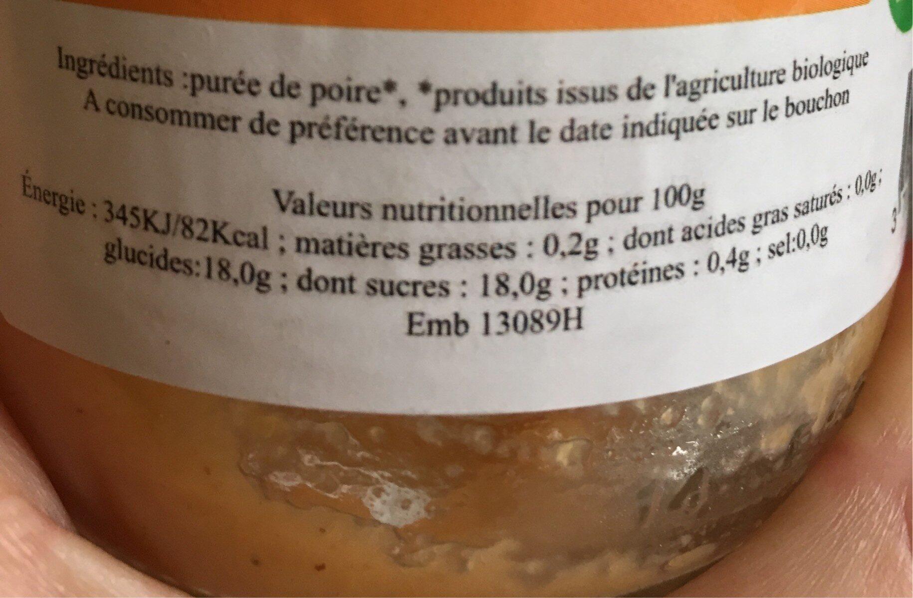 Puree de poire bio - Ingredients - fr