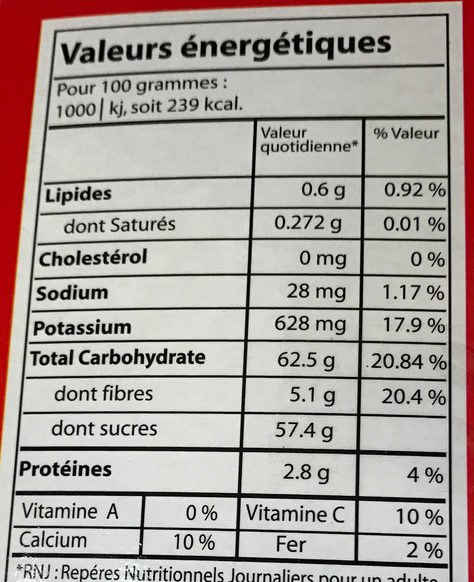 Tamarin Sucre - Nutrition facts - fr