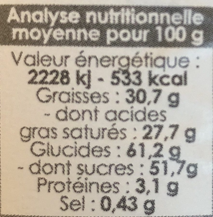 Choc'melts Blanc - Micro-ondes - 180G - Scrapcooking - Nutrition facts