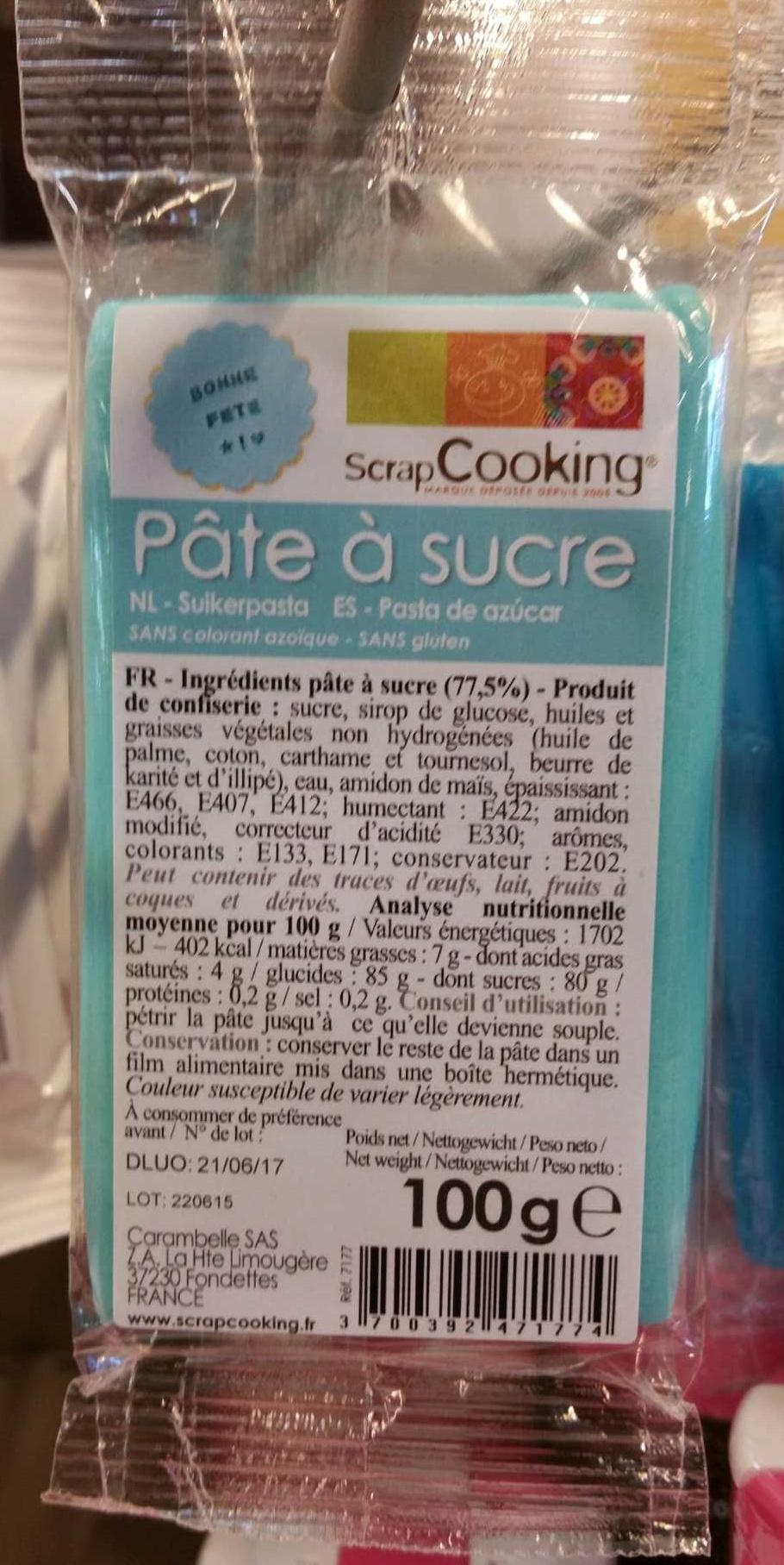 Pâte à sucre bleue ciel - Produit