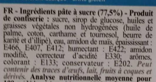 Pâte à sucre bleue - Ingrédients
