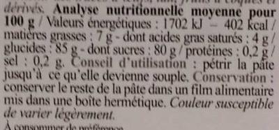 Pâte à sucre bleue - Informations nutritionnelles