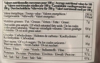 Preparation pour pancakes - Voedingswaarden - fr