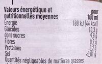 Jus de pomme - Informazioni nutrizionali - fr