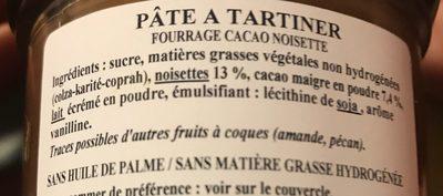 Pâte à tartiner noisette - Ingrediënten
