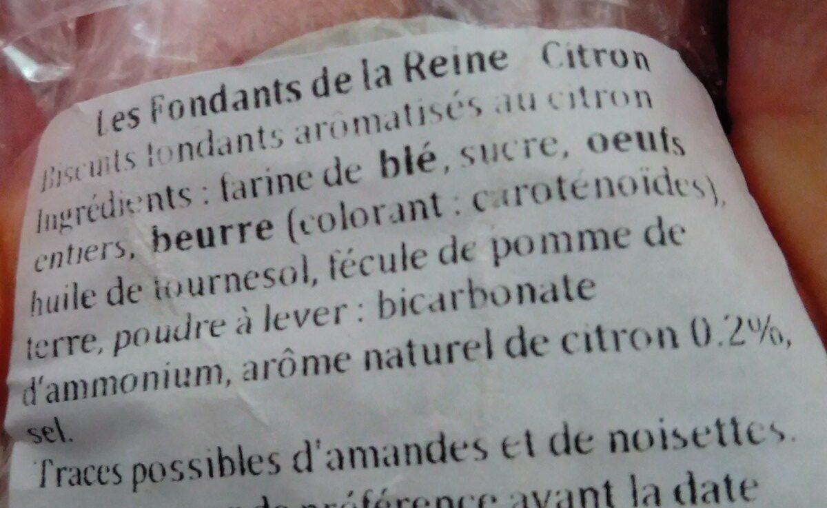 Les fondants de la reine au citron - Ingrédients - fr