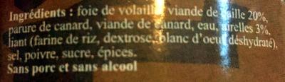 Terrine de caille aux airelles - Ingrédients