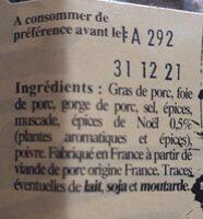 Terrine Gourmande aux épices de noël - Ingrediënten
