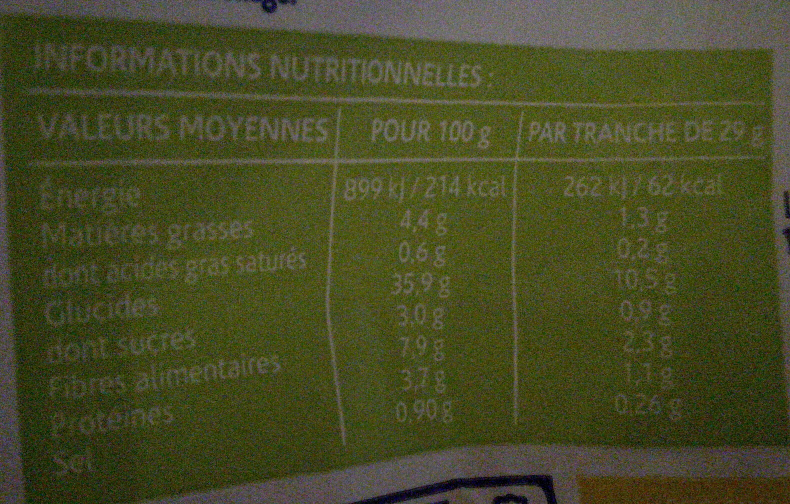 Pain sans gluten - Informations nutritionnelles - fr