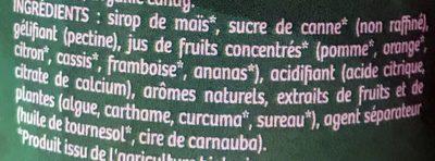 Sbulinours goûts fruités - Ingrédients