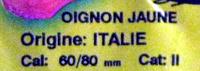 Oignon jaune bio Ferme de la Motte - Ingrediënten