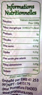 Pomme de terre bio Spécial Gratin - Vapeur - Rissolé - Nutrition facts