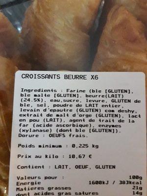 Croissants Pur Beurre, x5 - Ingrediënten