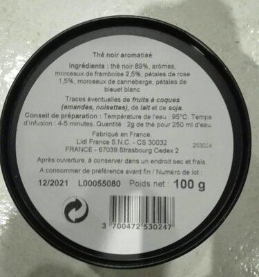 The aromatisé litchi framboise et rose - Ingredients
