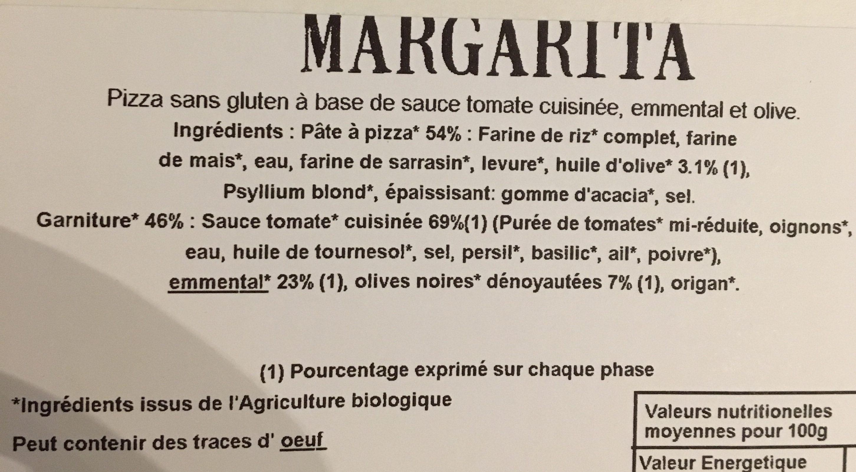 PIZZA MARGARITA SANS GLUTEN - Ingredients - fr