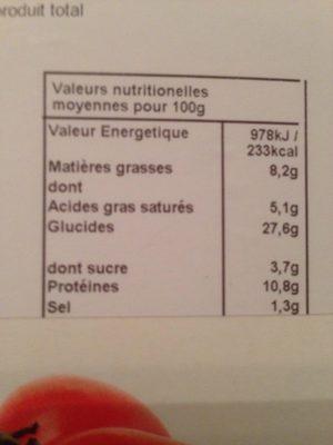 Pizza Marguerita Bio - Nutrition facts