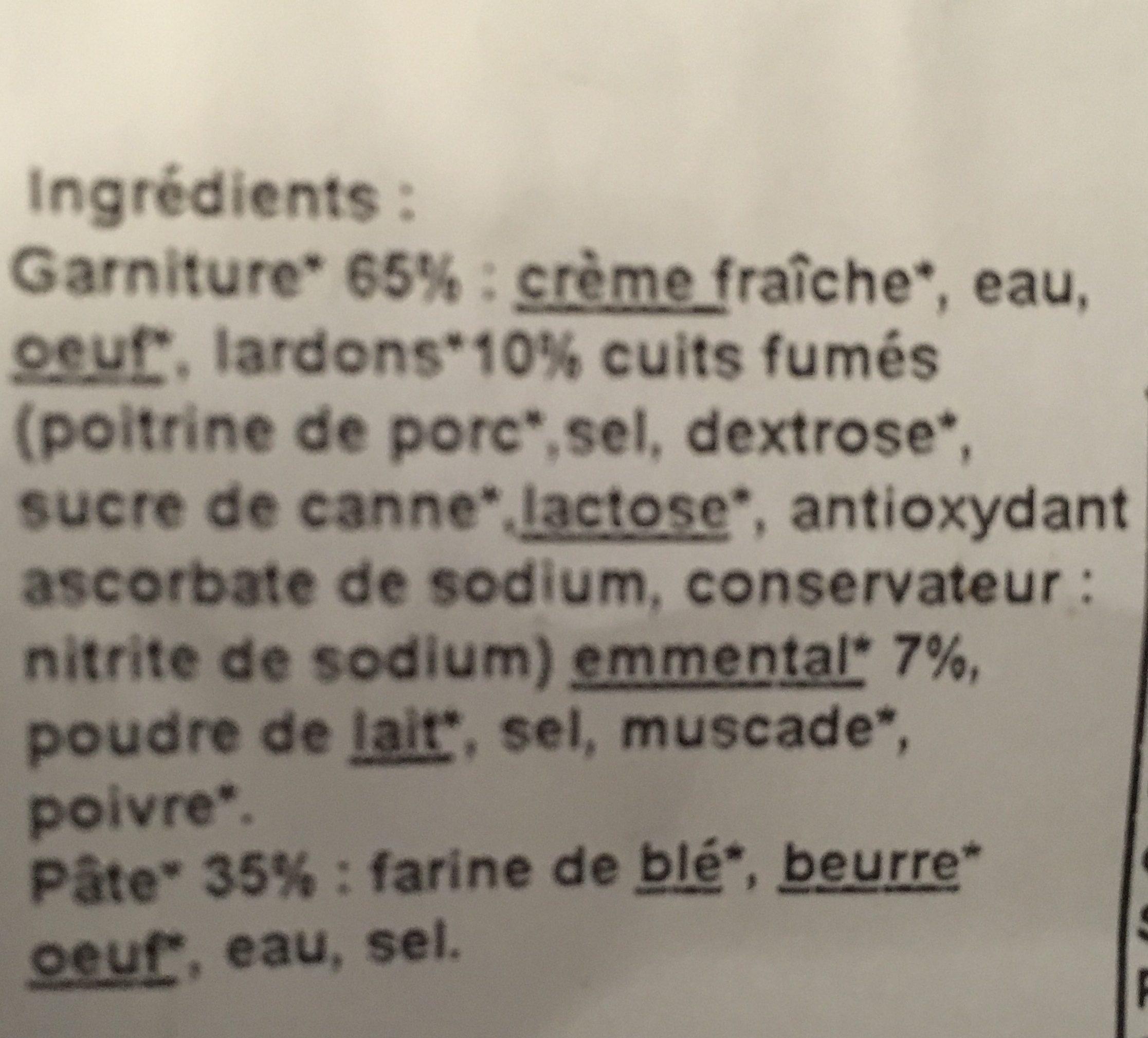 Quiches Lorraines lardons & Emmental - Ingrédients - fr