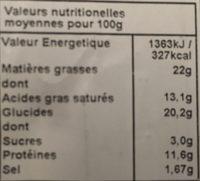 Quiches Lorraines lardons & Emmental - Informations nutritionnelles - fr