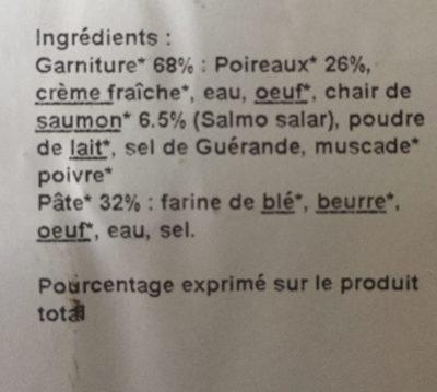 TARTES Poireaux & Saumon - Ingrédients