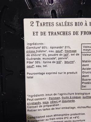Tarte Epinards Chevre X2 - Ingrédients