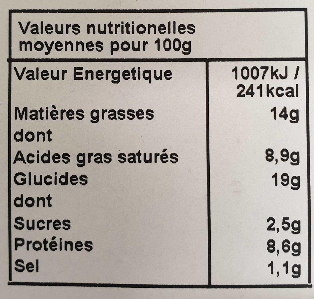 Tarte Epinards Chevre X2 - Informations nutritionnelles