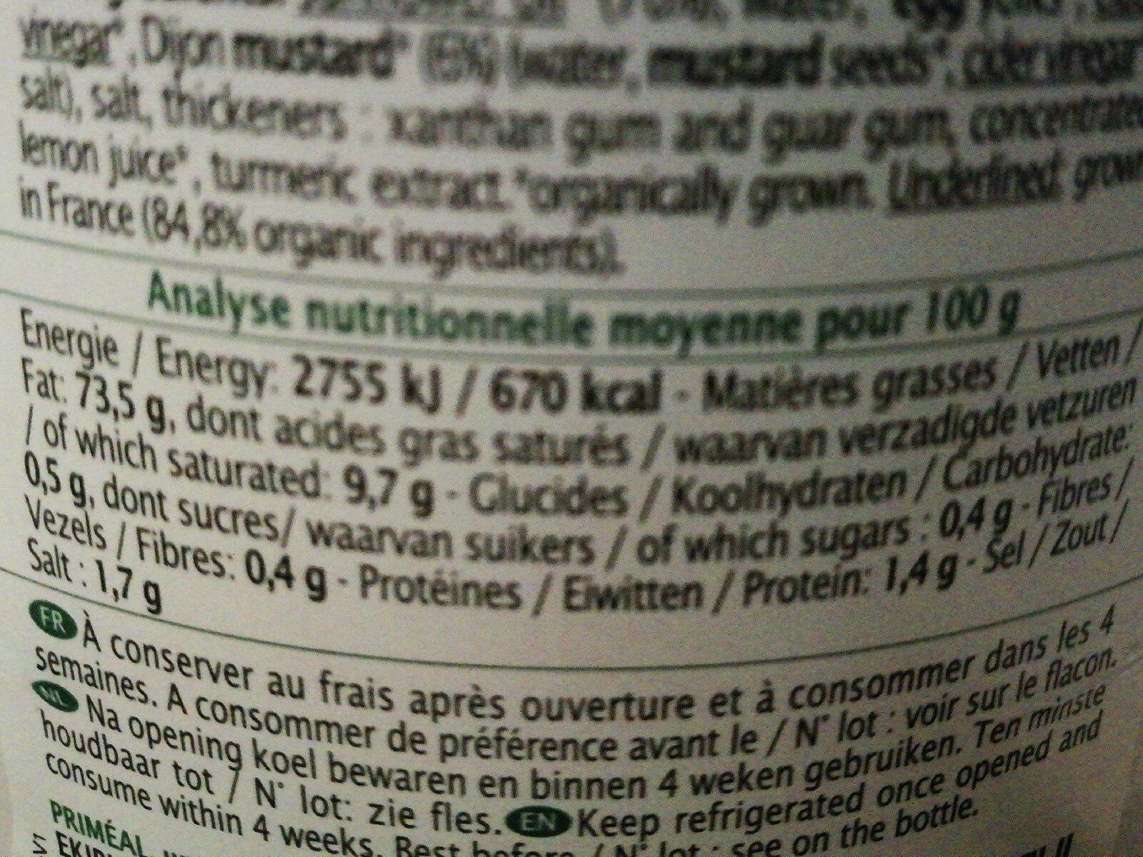 Mayonnaise à La Moutarde De Dijon Tube - Informations nutritionnelles