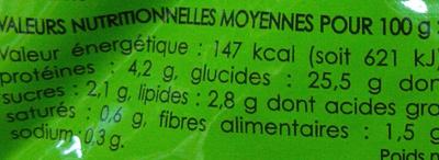 Riz façon paëlla - Informations nutritionnelles