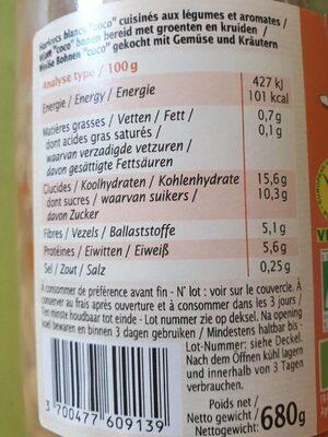 Haricots Coco Cuisinés - Informations nutritionnelles - fr