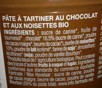 Pâte à tartiner chocolat noisettes - Ingredients