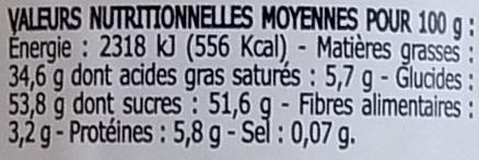Pâte à tartiner chocolat noisettes - Nutrition facts