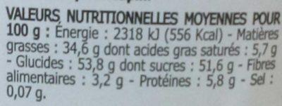 Ma pâte à tartiner aux noisettes - Nutrition facts