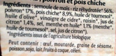 Salade repas taboulé doré semoule maïs riz - Ingrediënten - fr